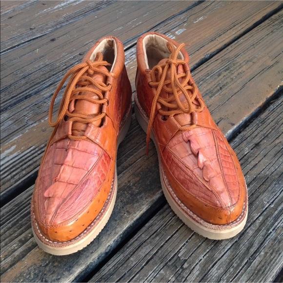 ba688a89bae Los Altos Caiman Ostrich Ankle Boots 6 37 Exotic